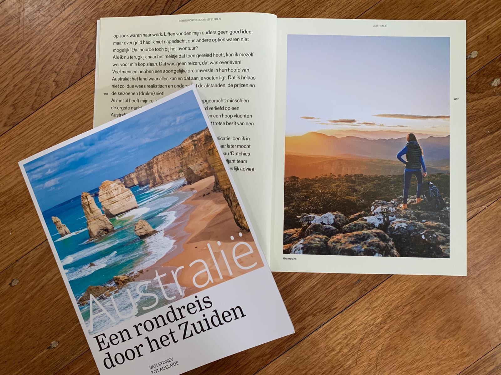 Het boek van Lisanna Weston 'Australie: een rondreis door het zuiden'. Voorkant en binnenkant.